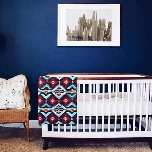 navy nursery with scoot crib