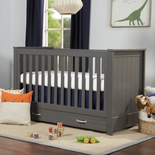 grey crib with storage