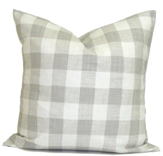 grey buffalo plaid cushion