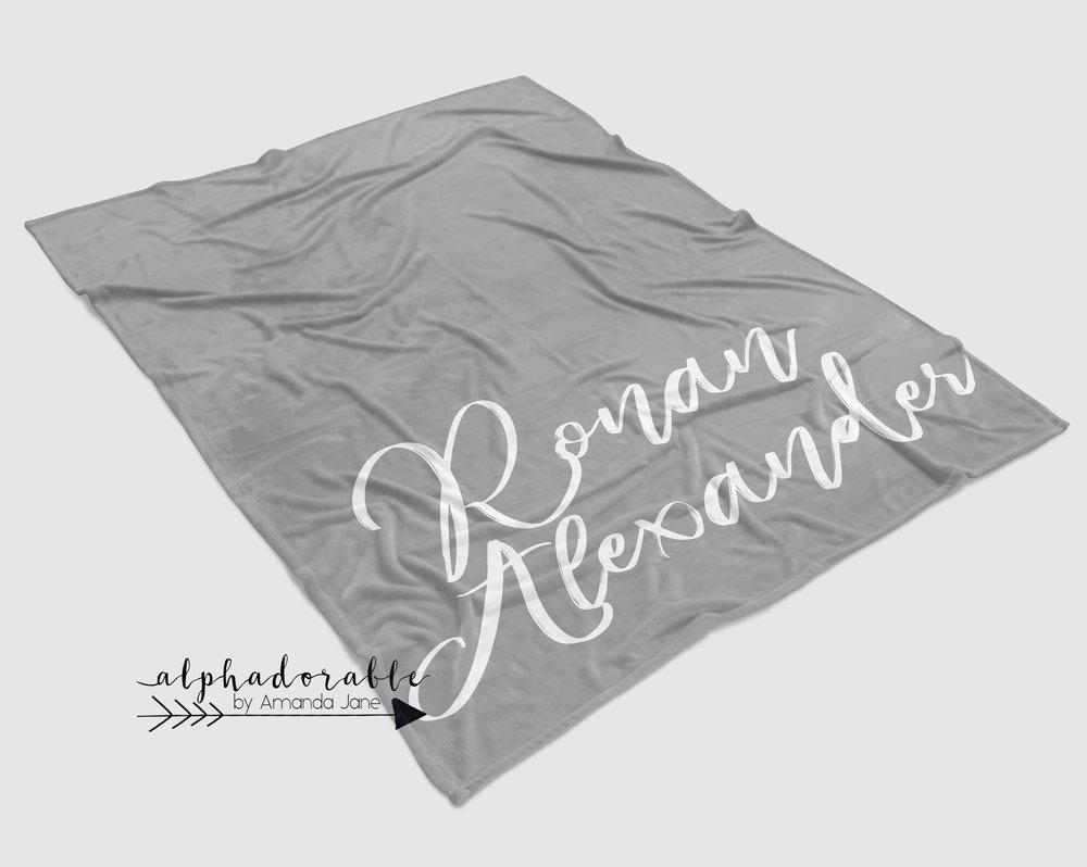 monogram minky baby blanket