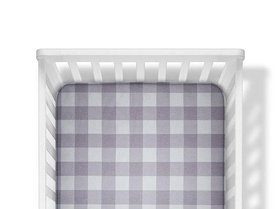grey buffalo plaid crib sheet