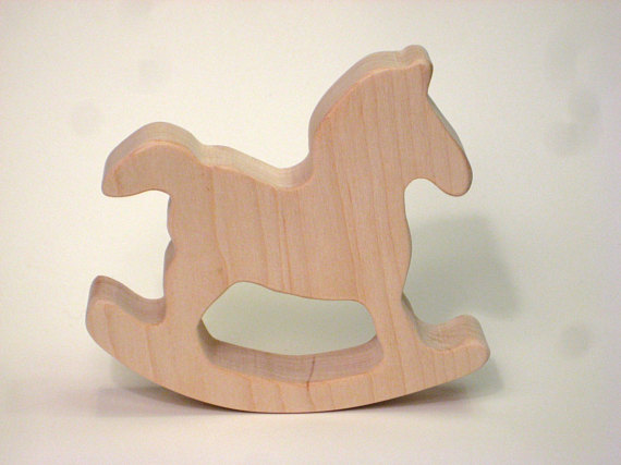 wooden rocking horse teething toy
