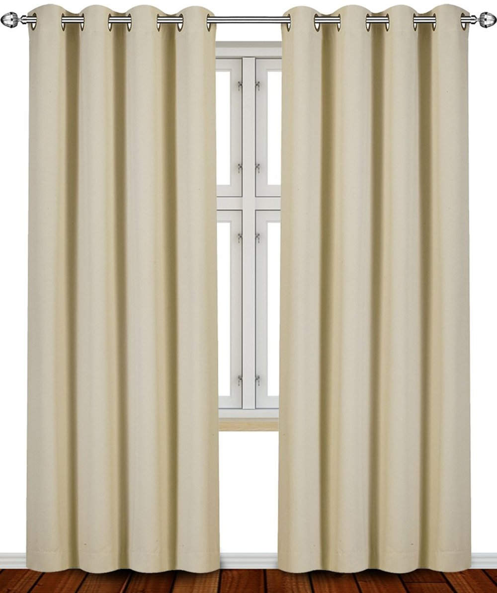 tan curtains