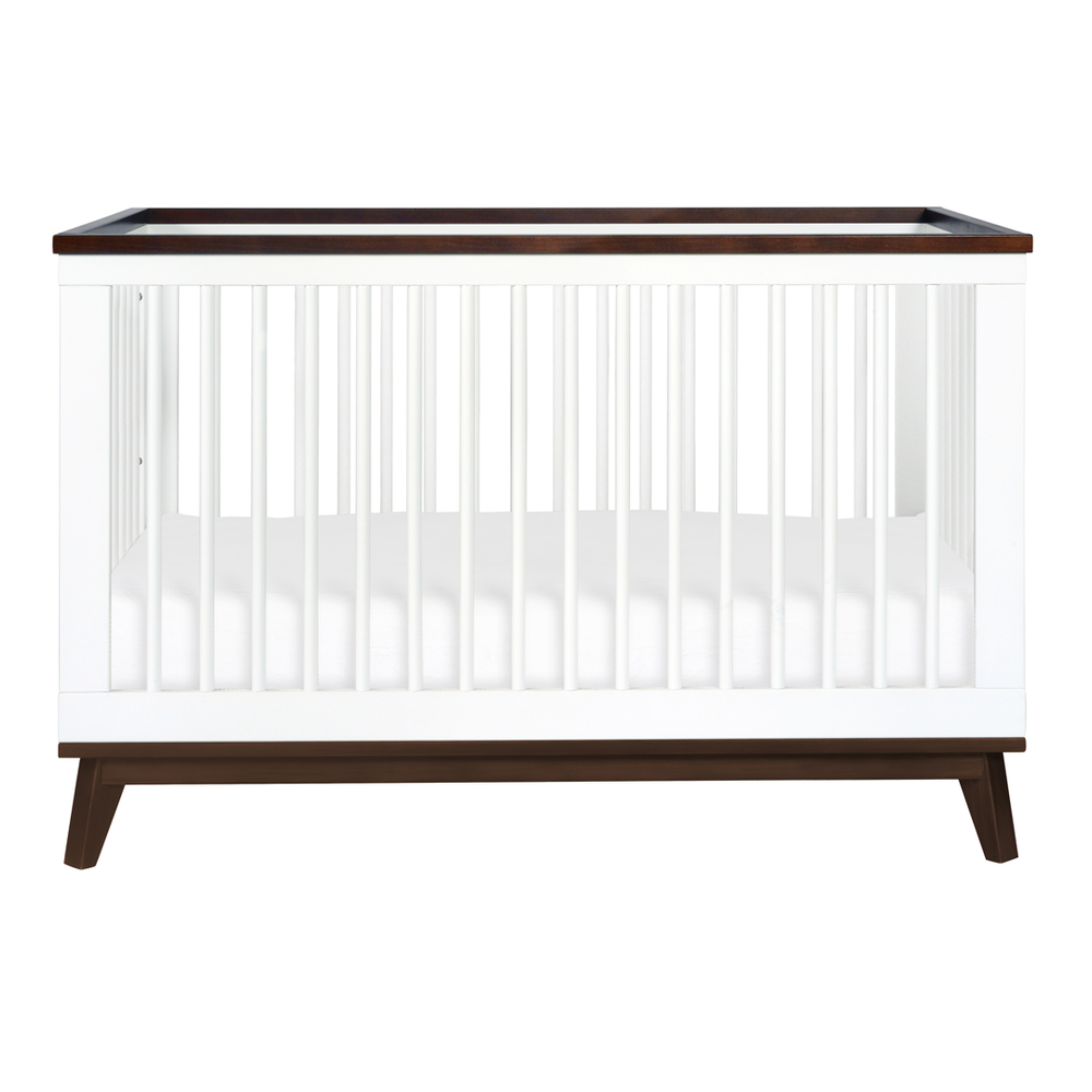 modern brown and white crib