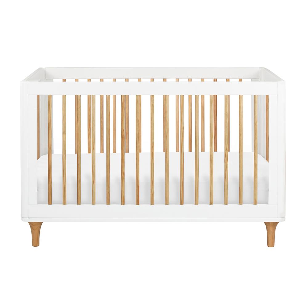 modern white and wood crib