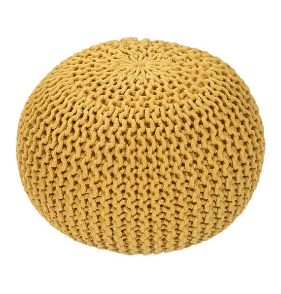 yellow knit pouf ottoman