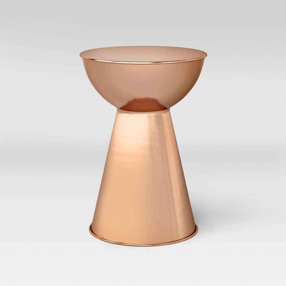 copper hourglass side table