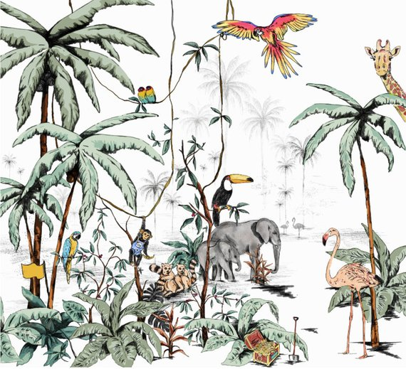 jungle wallpaper nursery