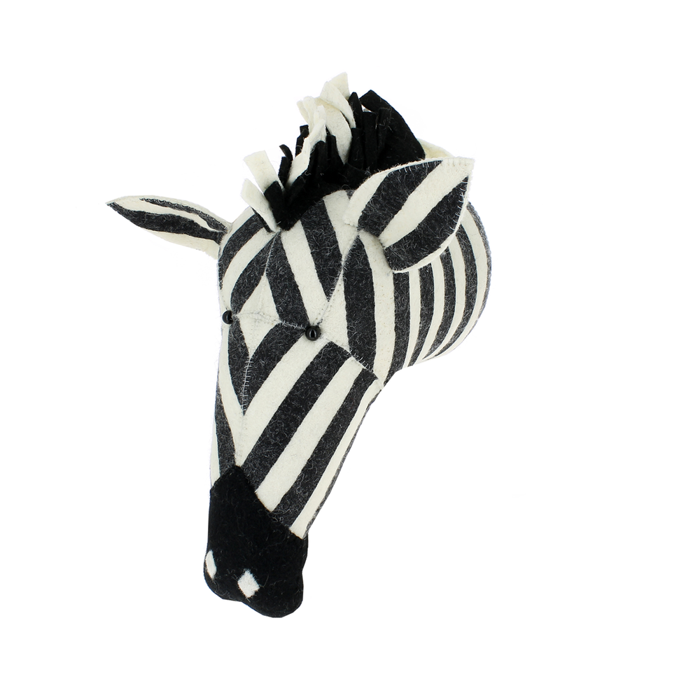 zebra head wall decor