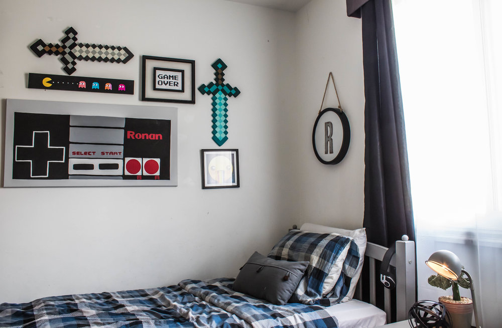 video game themed boys room