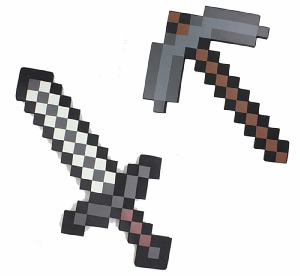 minecraft sword and pickaxe