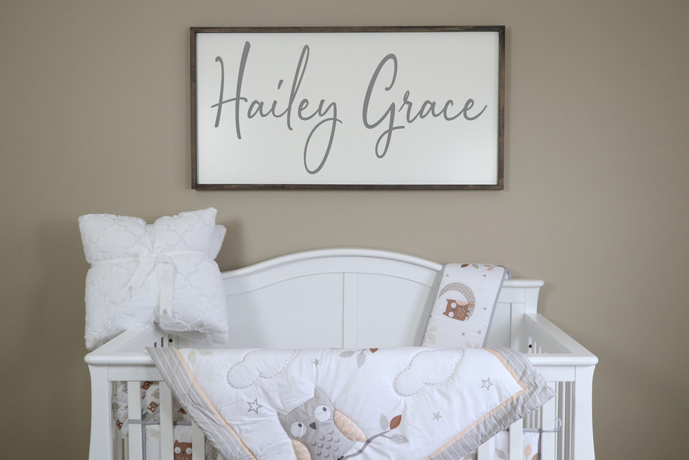 large rustic nursery name sign