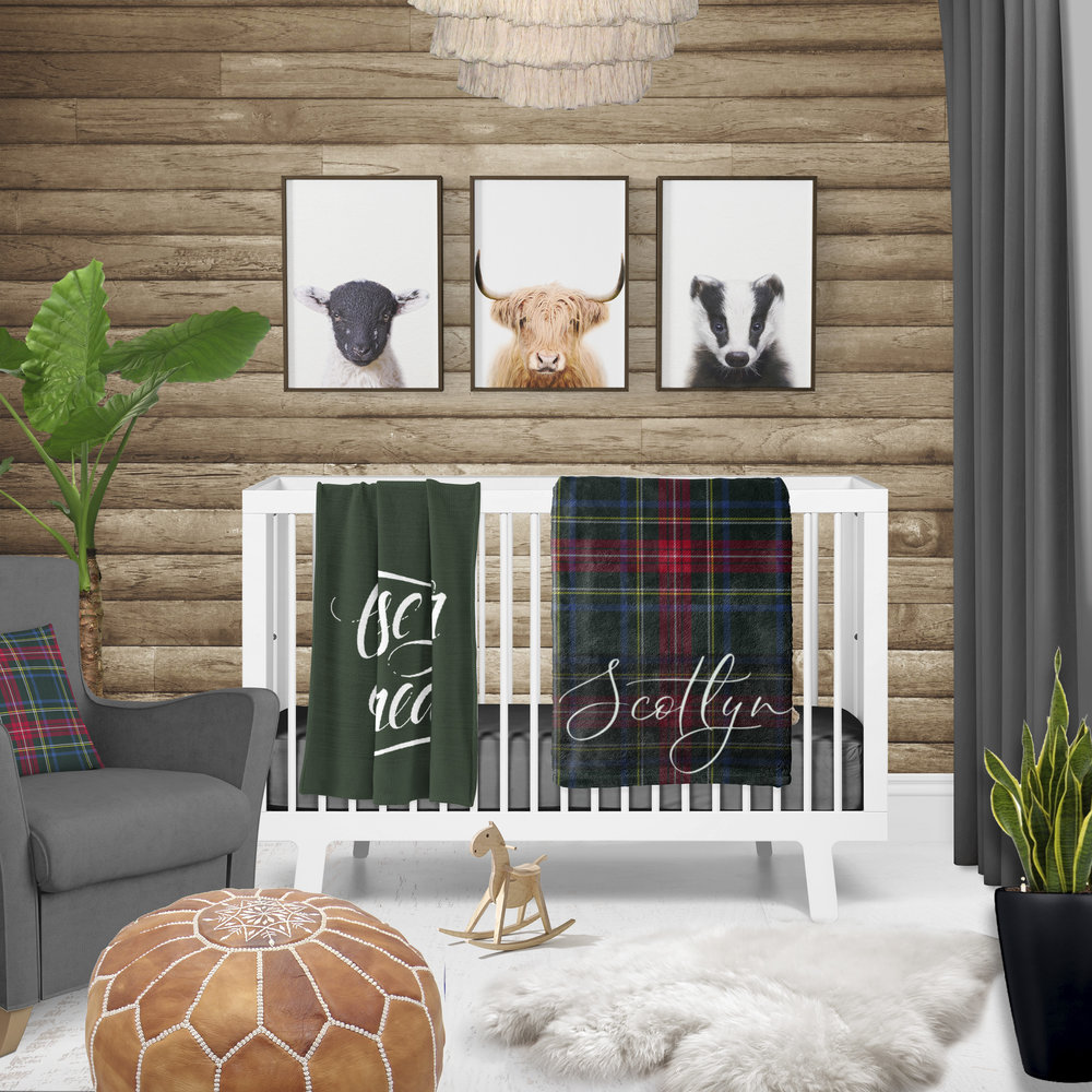 scotland tartan themed baby nursery
