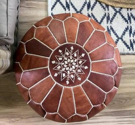 leather moroccan ottoman pouf
