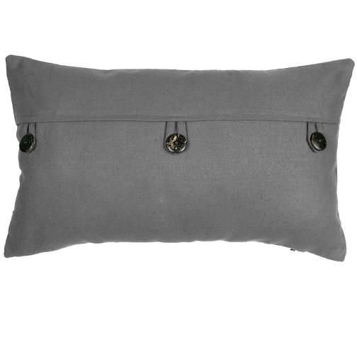 grey button cushion