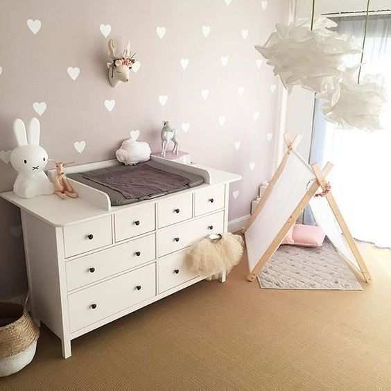 pink and white modern scandi nursery
