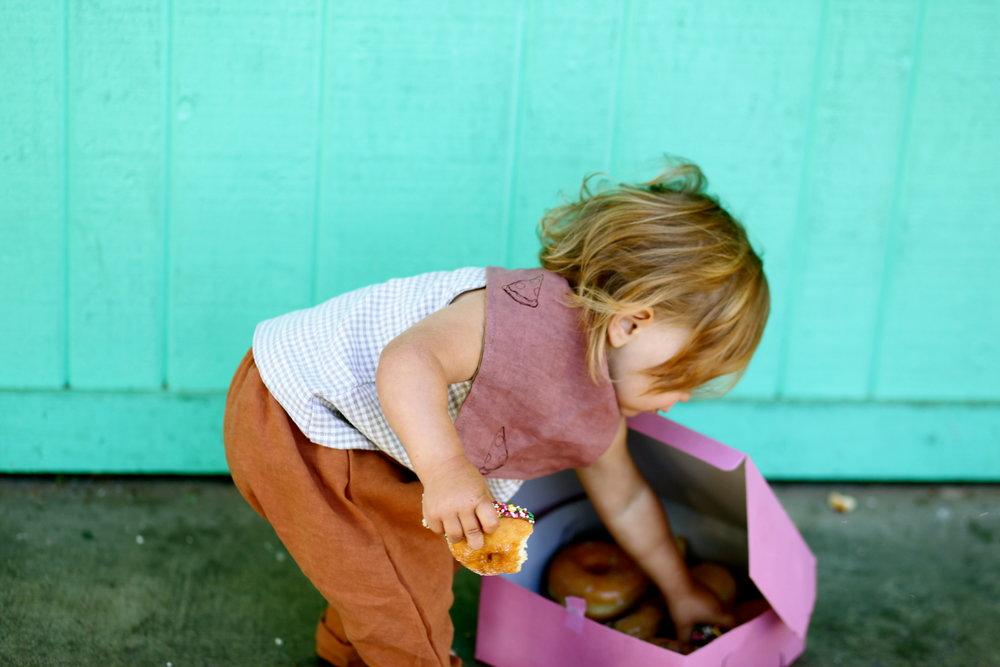 Patty Cake Harem Pants (Honey) + Sandbox Snap Vest (Gingham)