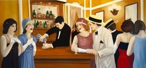 """""""Sorpresa en La Fiesta de Leopoldo"""" Oil on Canvas 74"""" x 36"""" Andres Conde"""
