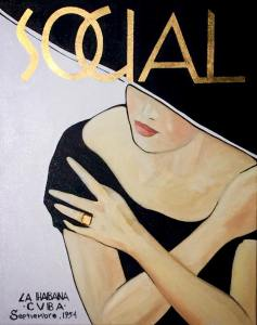 """SOCIAL : Septiembre 1954"" Mixed Media and 23k Gold on Canvas 16"" x 20"" Andres Conde"