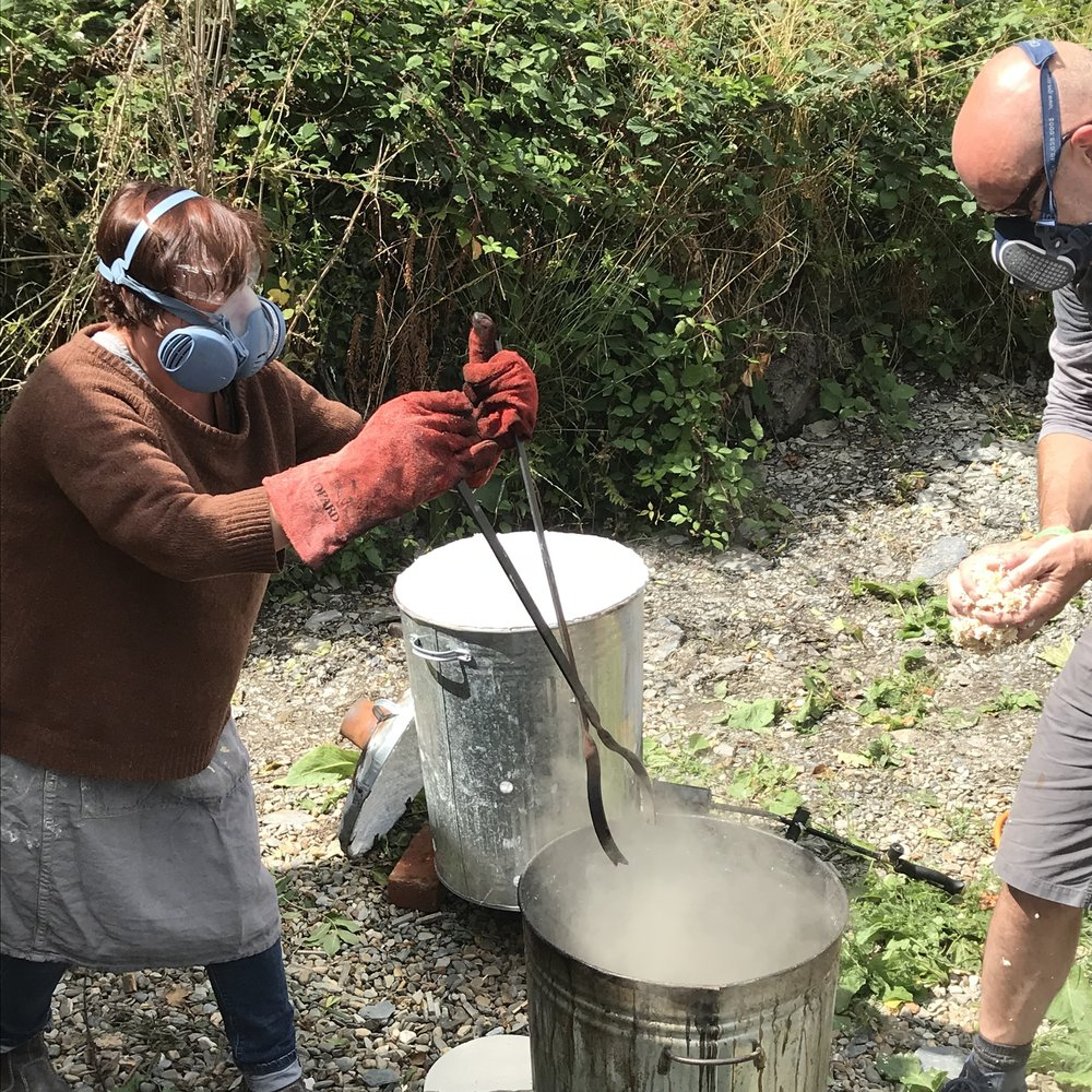 Raku firing at Gather. photo by Emma Donnelly