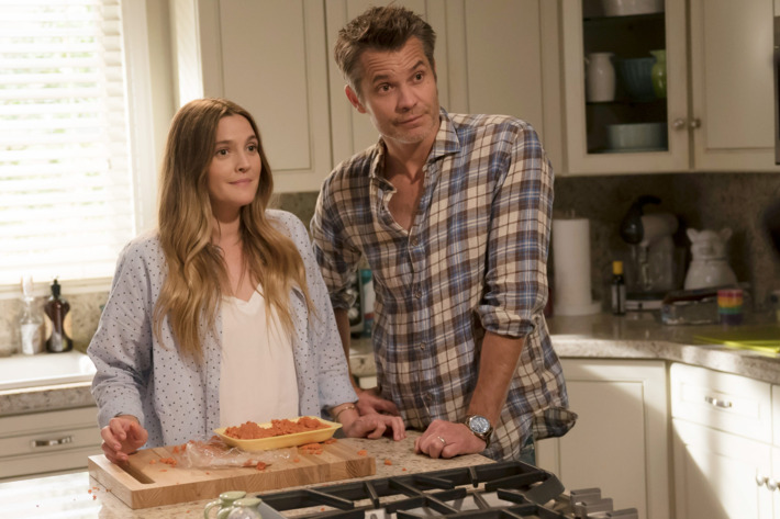 Drew Barrymore and Timothy Olyphant.  Photo: Saeed Adyani/Netflix