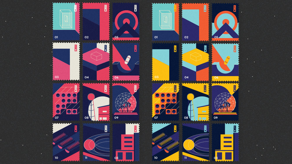 Iso Liquid : City Stamps. Each Stamp reflects its real 3D counterpart. (Soon in print !)