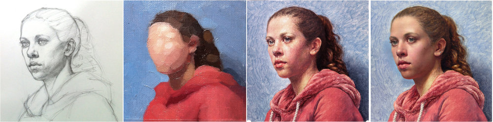 Four stages of my portrait painting of Tessa: Drawing, Color Study, Underpainting, Form Painting