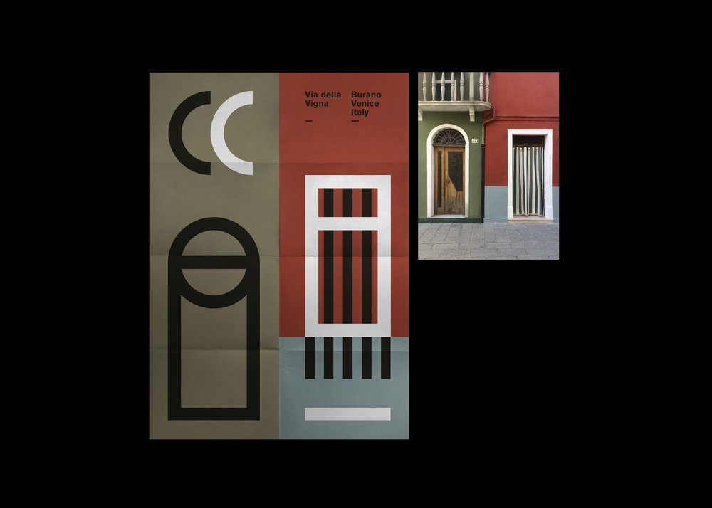 Burano poster series – Focus on green, red and cyan house
