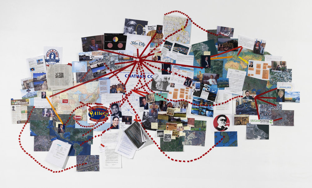 The North Wind and the Sun , Wall Map: paper, photographs, printed materials, 2012 (Photograph: Stewart Clements)