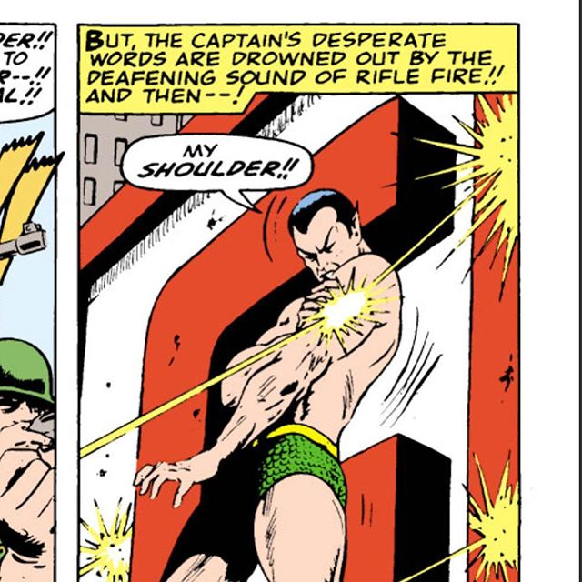 That time in Tales To Astonish 79 when #Namor forgot he is bullet proof (has crocodile tough skin). We cover this in our episode coming out today Tales To Astonish 79 and 80.