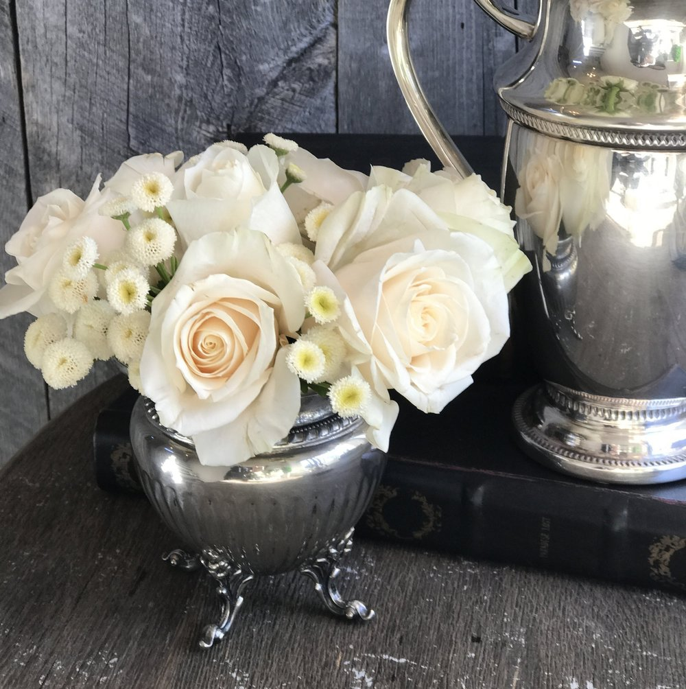 My Aunt gave me this silver sugar bowl. It makes me so happy to see it with these pretty roses!