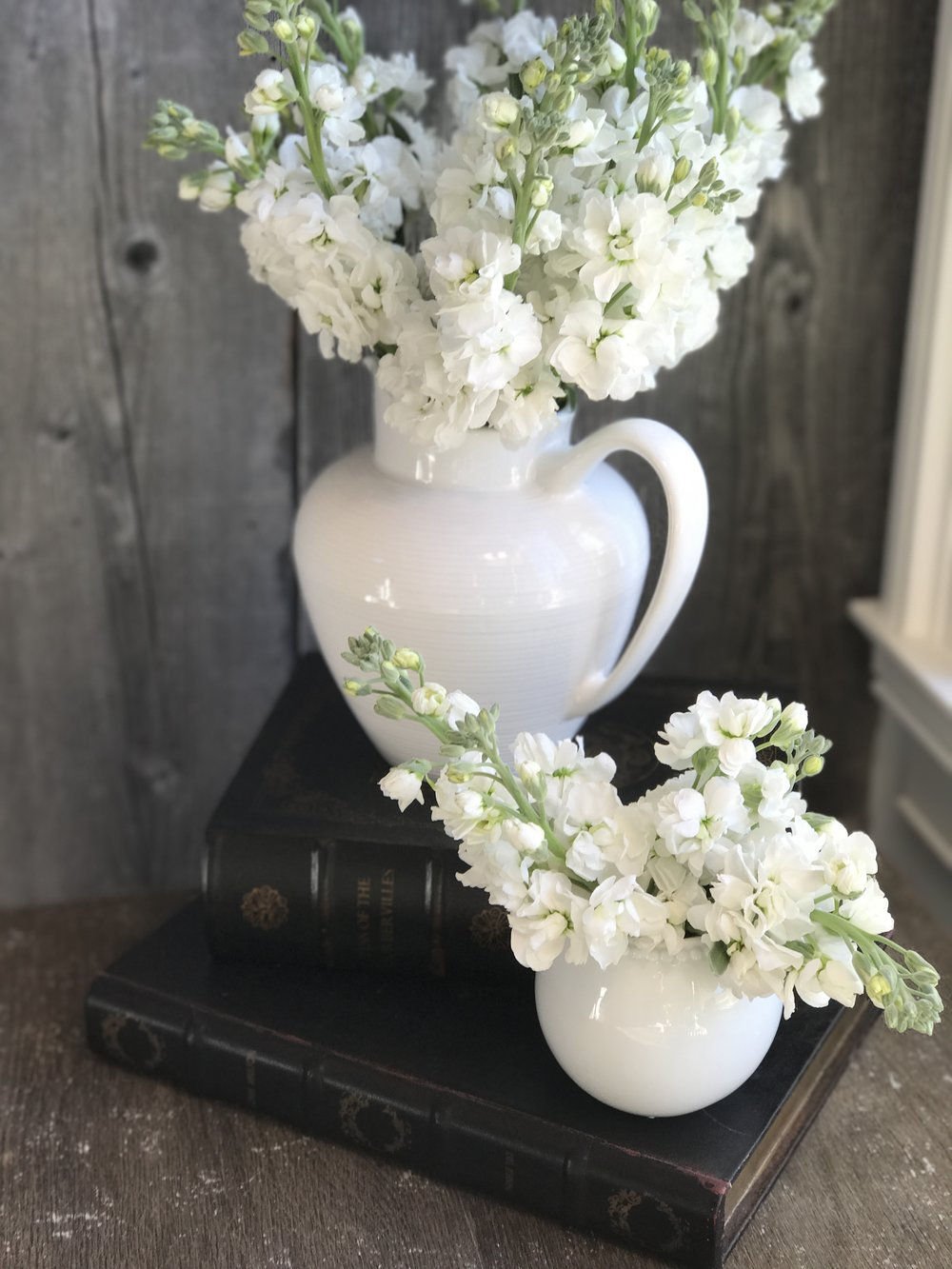My favorite white pitcher and a little sugar bowl with beautiful stock.