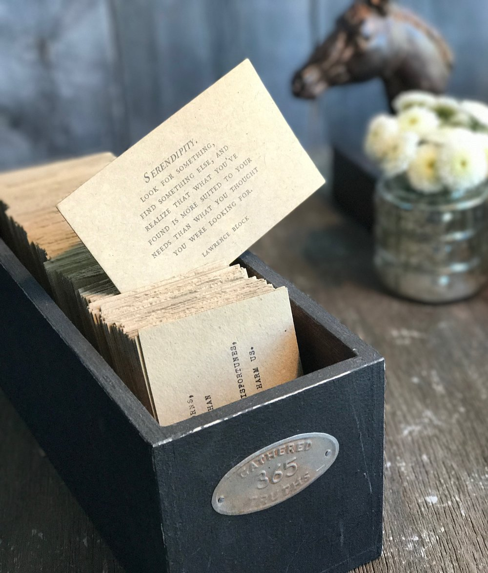 "We often pass this box of 365 ""Gathered Truths"" aroud the dinner table. It is now available in the Sanctuary Shop!"