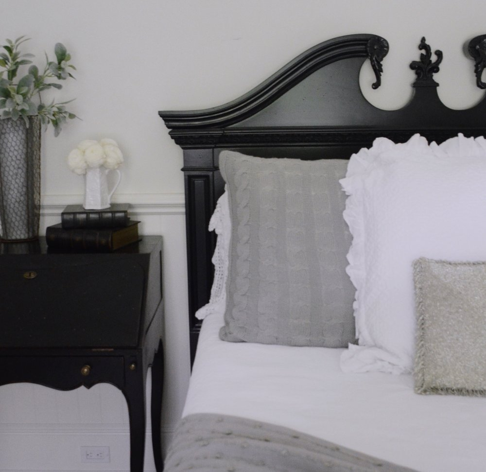 My original gray euro squares with an additional white pillow and this gorgeous beaded accent piece.