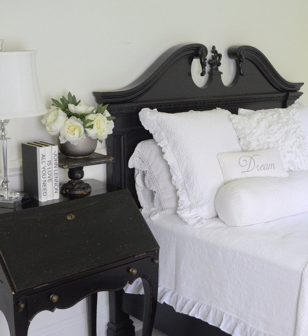 I love the crisp, fresh look of all white bedding and the texture of these pillows added just the right amount of interest to keet it from looking flat.
