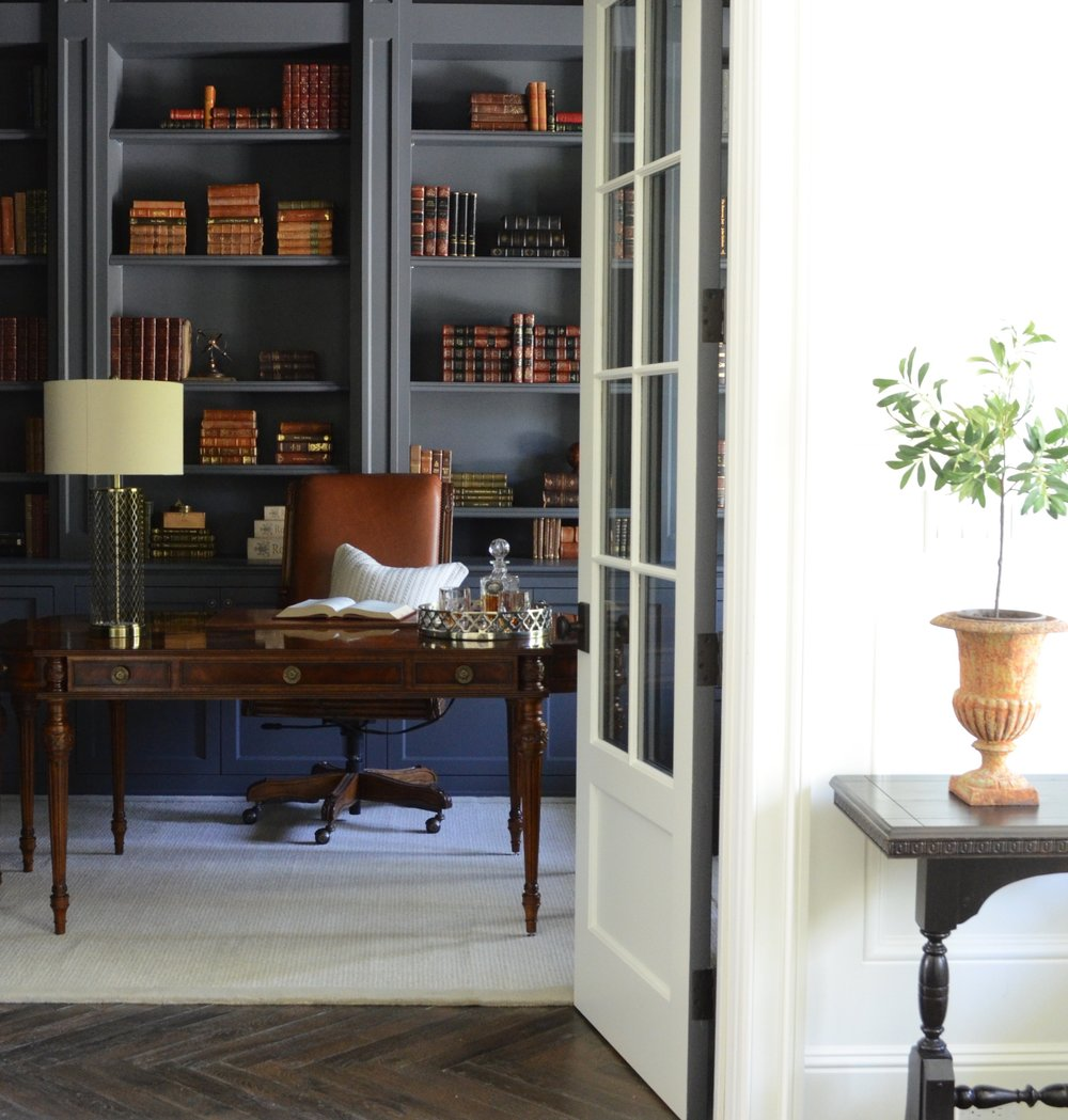 Restoration HArdware - Flint on the library cabinets and walls