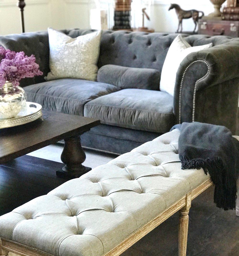 Living Room Velvet Couch