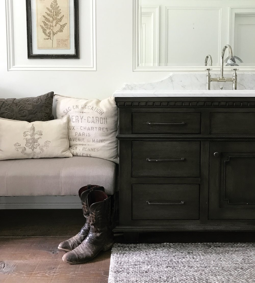 restoration hardware - flint base with a custom finish on the master bath cabinets
