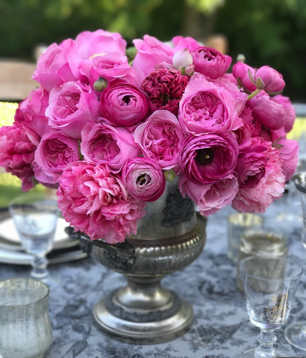 Rose and Peony Centerpiece in Vintage Vase