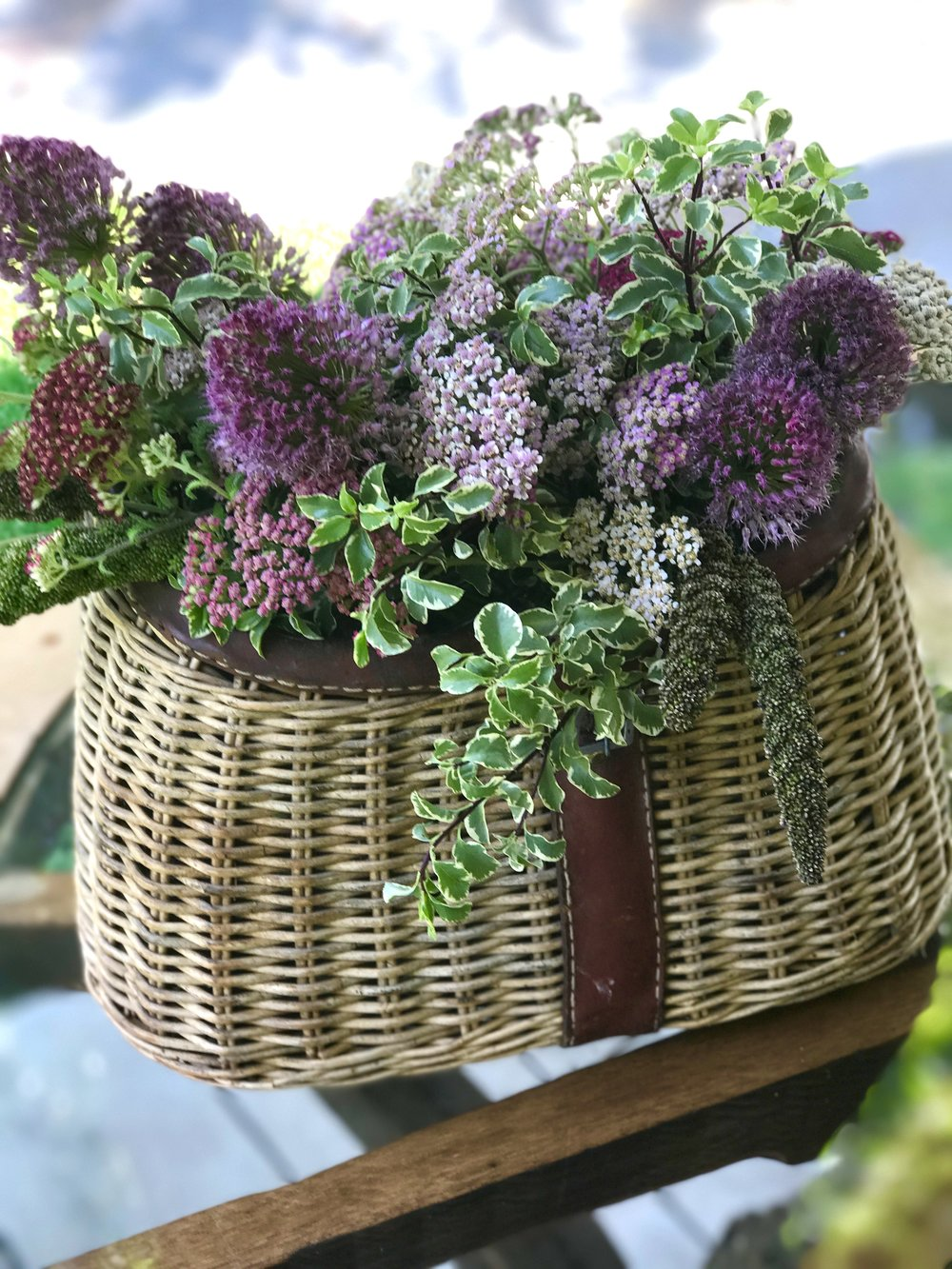 Fishing Basket with Flowers