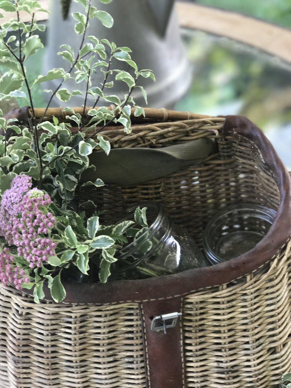 Flowers in a Fishing Basket