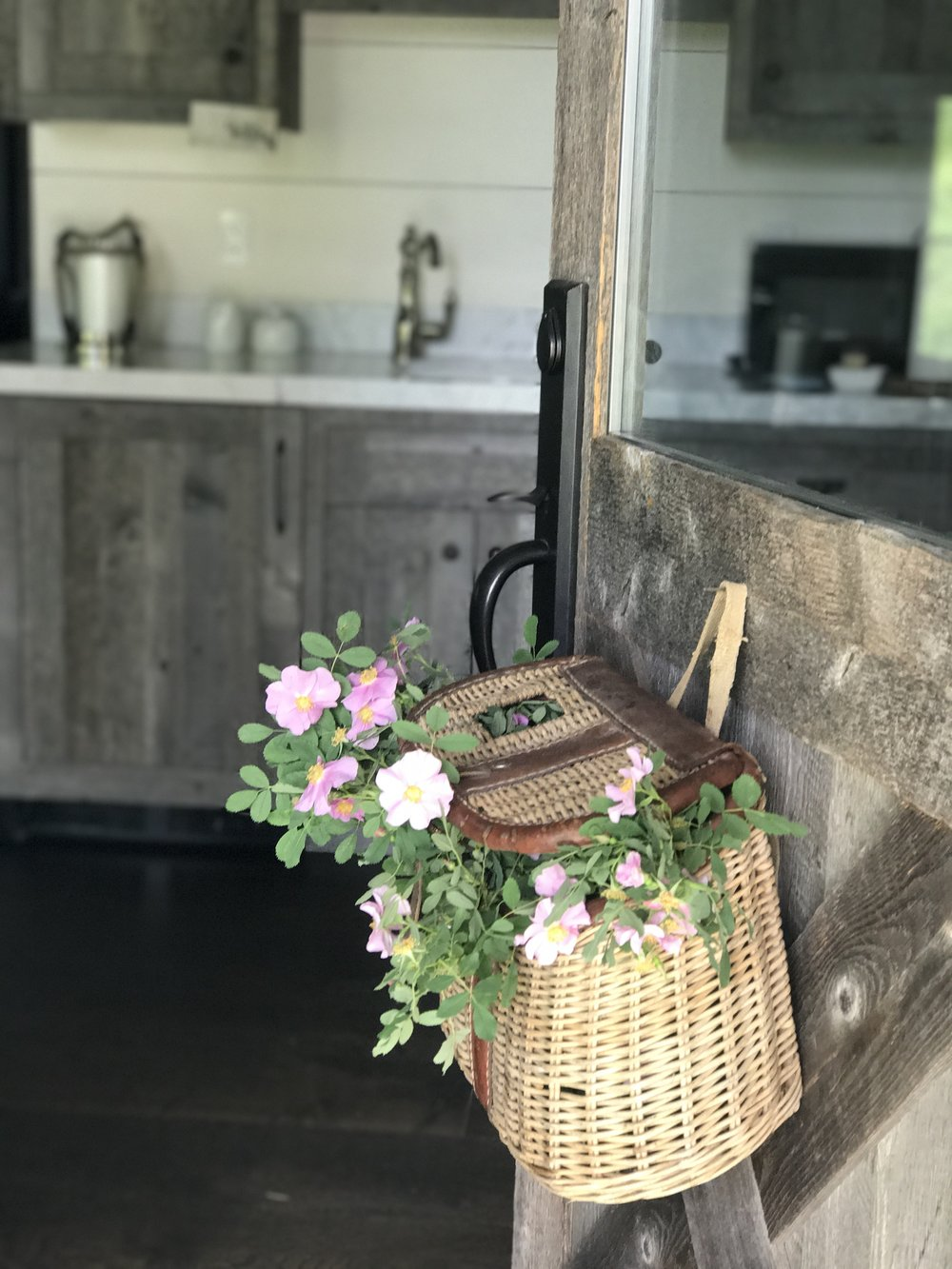 Fishing basket on a door