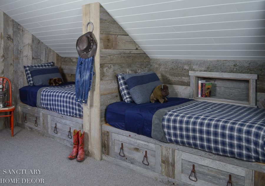 Attic-Bunk-Room-Reclaimed-Wood & Attic Makeover: Design Ideas to Create a Kidu0027s Bunk room u2014 SANCTUARY ...