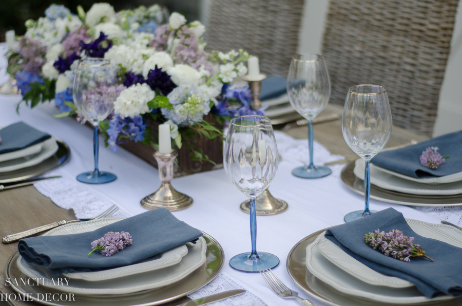 I used those great cream plates for this spring tablescape.  You can see more details [HERE].