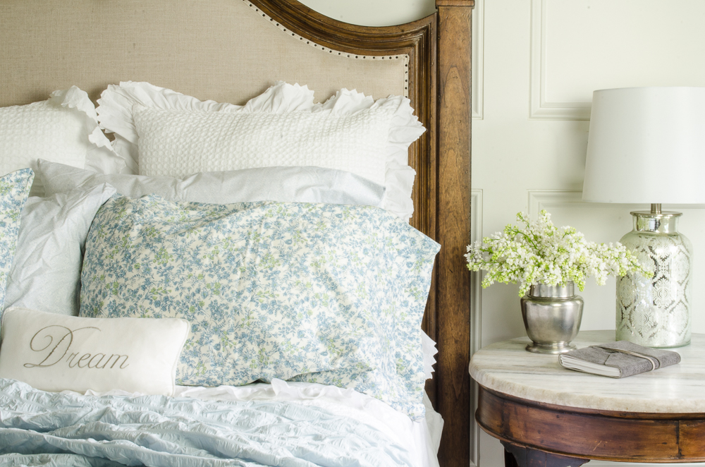 A little spring bedroom makeover from last month.  You can see all the details by clicking [ HERE ].