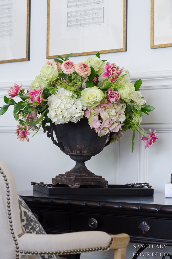 Pink and White Flower arrangement in Urn