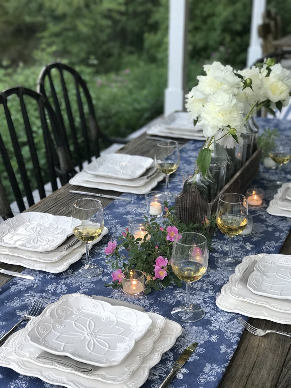 Summer Table Setting White Plates-White Peonies