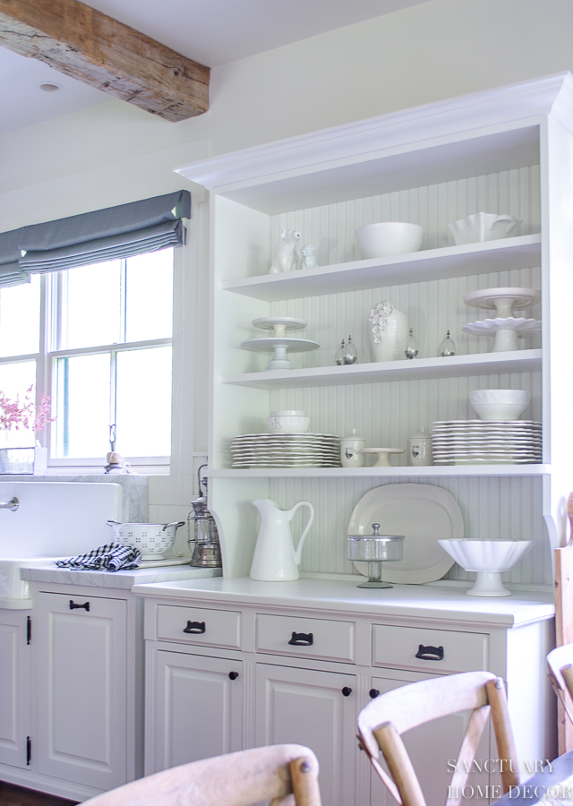 I love the look of white cabinets filled with white dishes.