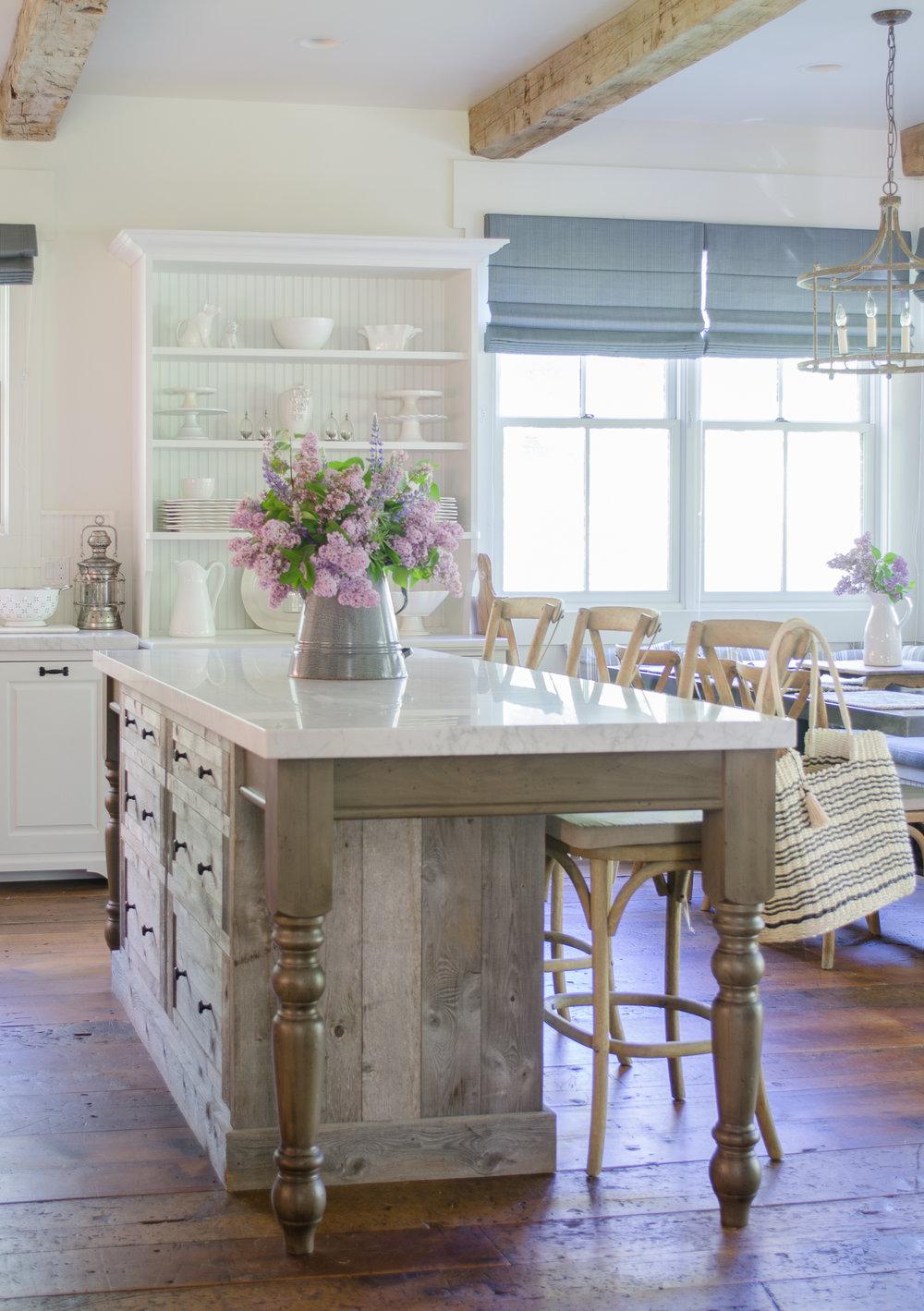 Rustic Ranch Kitchen-barn wood center island