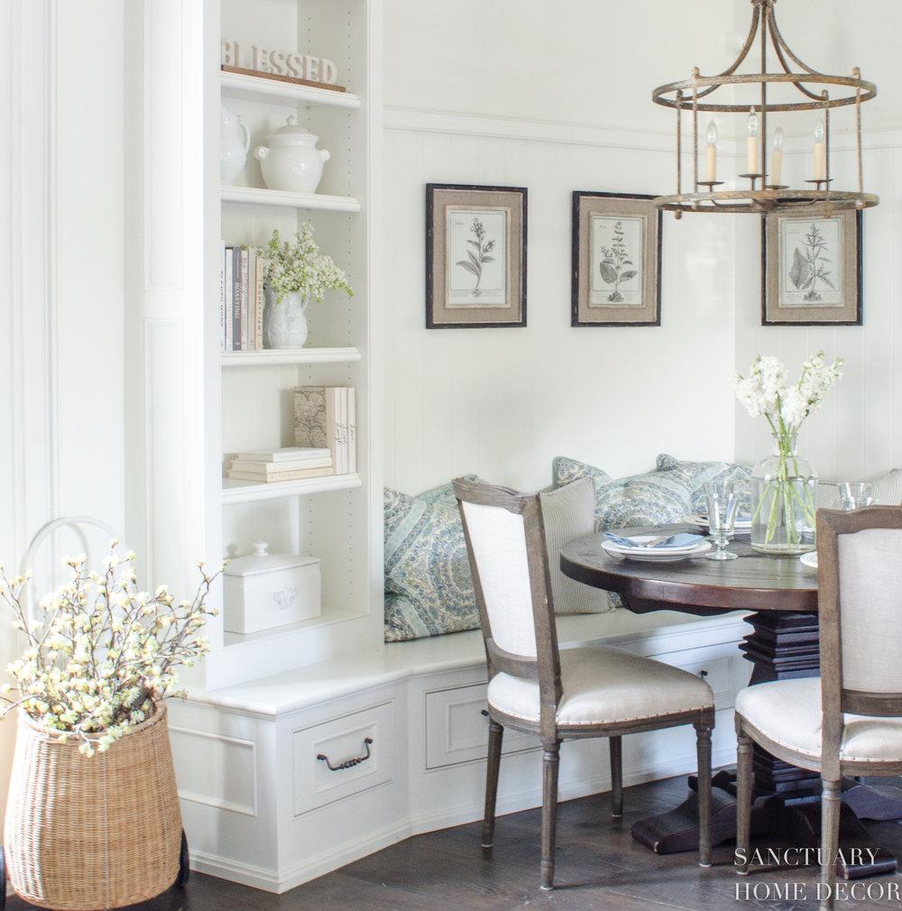 Breakfast Nook-White Cabinets